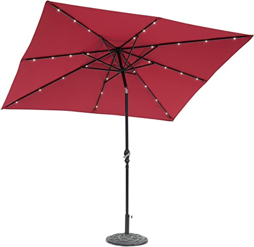 EdenBranch 9' x 7' Rectangular Solar Lighted Umbrella Scarlet Super Bright LED