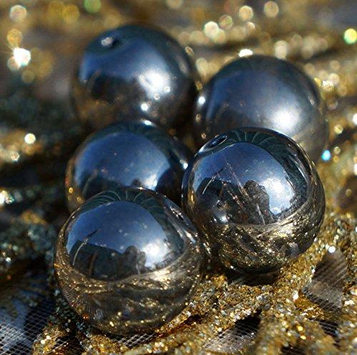 Metallic Hematite Czech Glass (8pcs Large Metallic Dark Silver Hematite Czech Glass Round Beads 12mm)