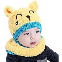 BlueSterCool Bufandas del Bebé, Invierno Niño Niña Sombrero Bebé de Punto Mantenga el Sombreros + Bufanda Dos Piezas Punto para niños de 1 a 3 años