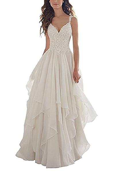 Nanger Damen V Ausschnitt Chiffon Boho Bohemian Hochzeitskleider Mit