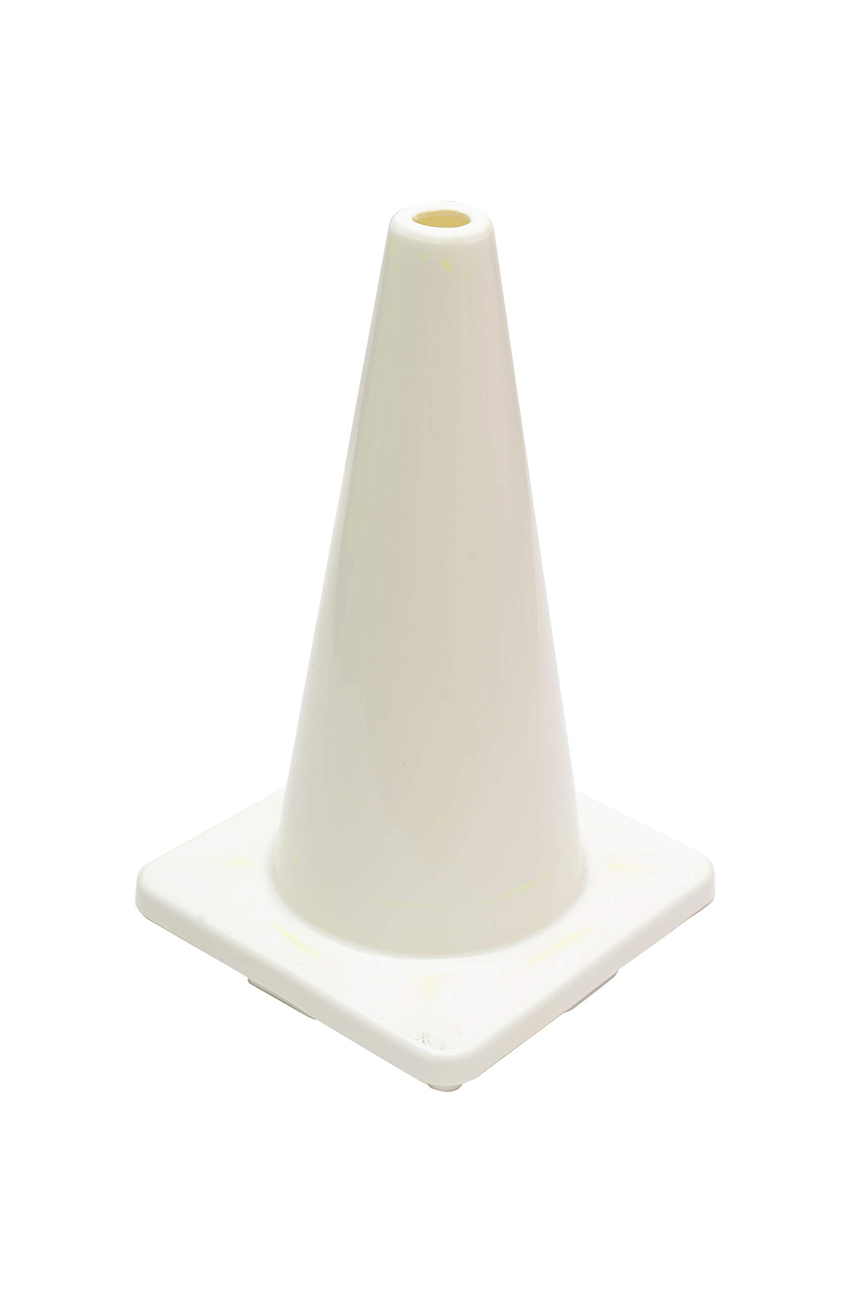(Set of 12) CJ Safety 18'' White PVC Traffic Safety Cones - No Reflective Collar (12 Cones)