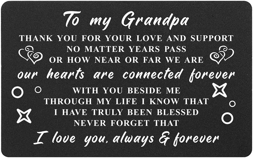 Grandpa Gifts Card from Granddaughter Grandson, Thank You Grandpa I Love You, Grandpa Wallet Card Insert, Birthday Gifts from Grandchildren, Fathers Day for Grandfather, Christmas Presents
