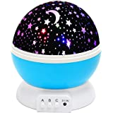 Homeself Star Lighting Lamp, 4 LED Beads 360 Degree Night light Rotation Night Cosmos Star Projection Lamp with USB Cable for Kids Baby Bedroom Bed Lamp Christmas Gifts Children (Blue)