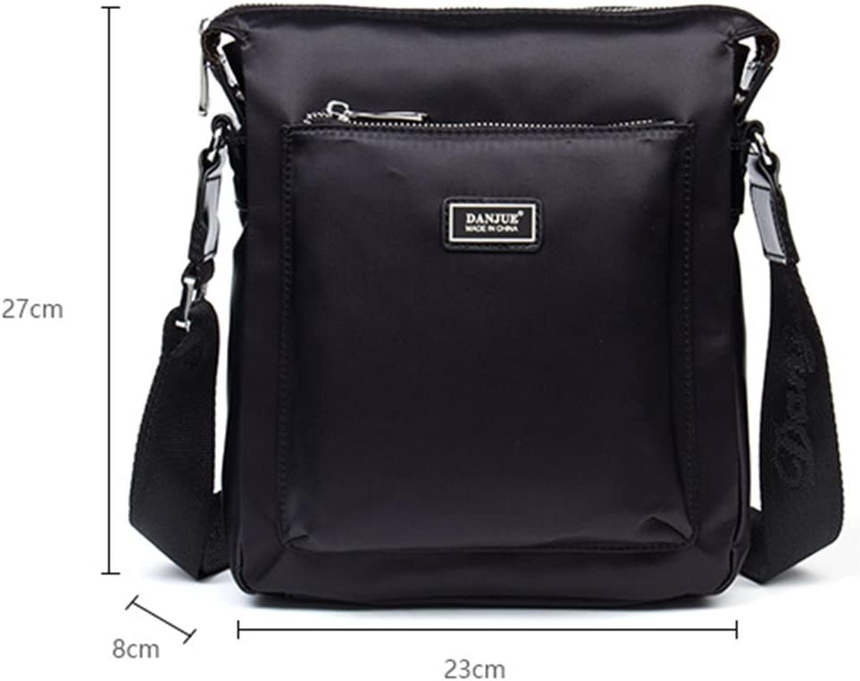 DANJUE waterproof fabric with leather shoulder slung mens casual bag trend fashion mens bag D247-2 black