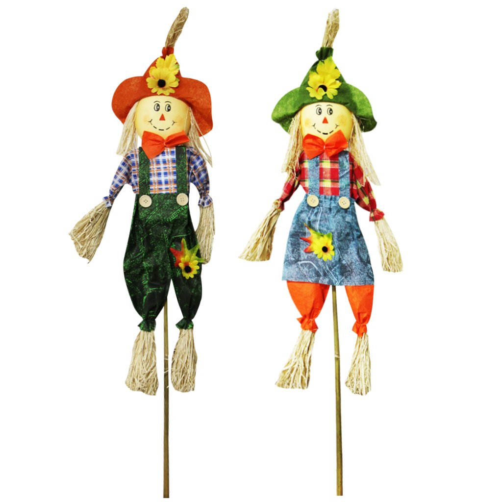 IFOYO Fall Harvest Scarecrow Decor, 2 Pack 39.4 Inch Thanksgiving Scarecrow Decoration Fall Decorations for Garden, Home, Yard, Porch