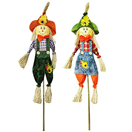 Ifoyo Fall Harvest Scarecrow Decor 2 Pack 394 Inch Thanksgiving Scarecrow Decoration Fall Decorations For Garden Home Yard Porch