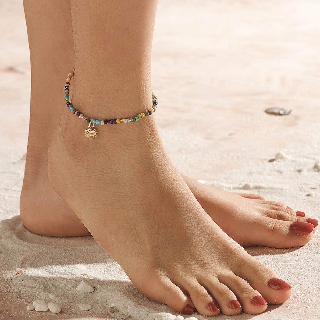 Aukmla Boho cheville Bracelets or Bracelets de cheville Coquillage cha/îne Multicolor Bracelets pieds bijoux pour les femmes et les filles