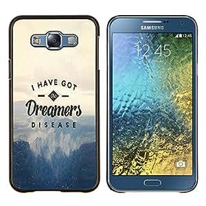 LECELL--Funda protectora / Cubierta / Piel For Samsung Galaxy E7 E700 -- DREAMERS ENFERMEDAD TIPOGRAFÍA --
