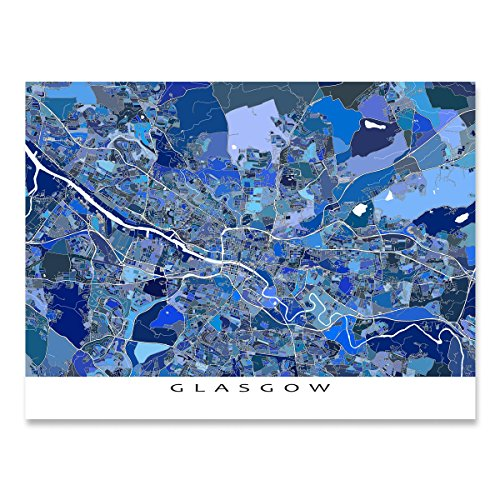 Glasgow Hanging - Glasgow Map Print, Scotland, City Street Art Poster, Blue