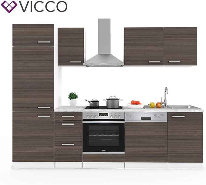 Vicco Optima - Cocina empotrada (270 cm, incluye hornillo de cocina de Constructa, cocina de Backofen/DAH/grifería/armario de refrigeración): Amazon.es: Hogar