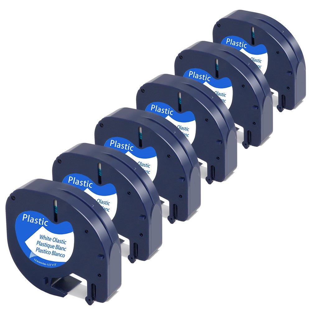 6-Pack Equivalent Dymo Letratag Tape 91331 S0721610 1/2'' W x 13' L Black on White Letratag Refills Plastic Tape Compatible with Dymo Label Makers LetraTag Plus LT100H LT100T QX50