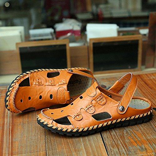 Xing Lin Sandalias De Verano Baotou Calzado De Playa_Cuero Sandalias De Cuero Transpirable Baotou Antideslizante Artesanales Sandalias De Hombre De Gran Tamaño brown
