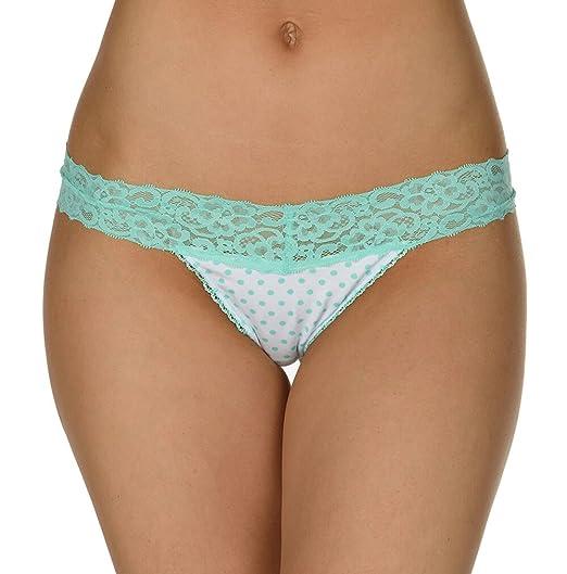 58d53bae8860 Velvet Kitten Sexy Perfect Lace Thong Print Panty Women s Thong Underwear  (Mint