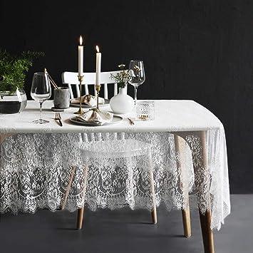 Amazon.com: Lahome - Mantel de encaje blanco con diseño de ...