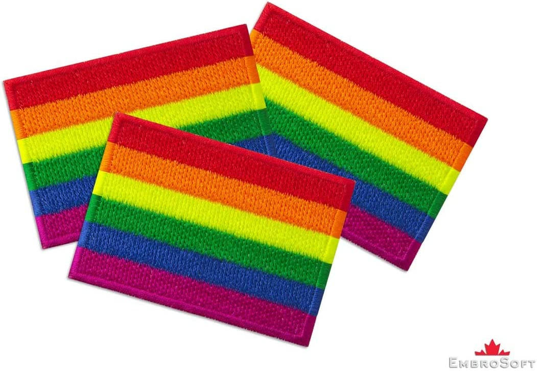 Pride Rainbow Flag Embroidered Patch Iron On 2 x 2.9 Lesbian, Gay, Bisexual and Transgender LGBT