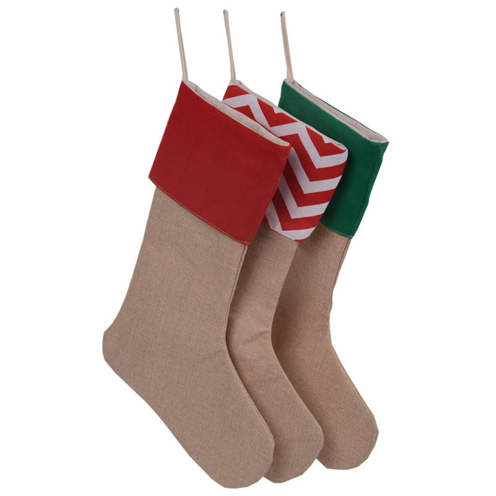 Huan Xun Set of 3 Pieces Burlap Christmas Stockings Decoration for Diy by HUAN XUN No Model