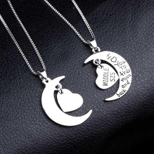 Juego de collares con colgante, con diseño de corazón, de plata, para hermanas