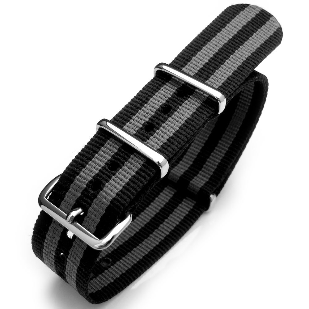 18mm G10 Nato James Bond Heavy Nylon Strap Polished Buckle - NYJ Double Black & Grey