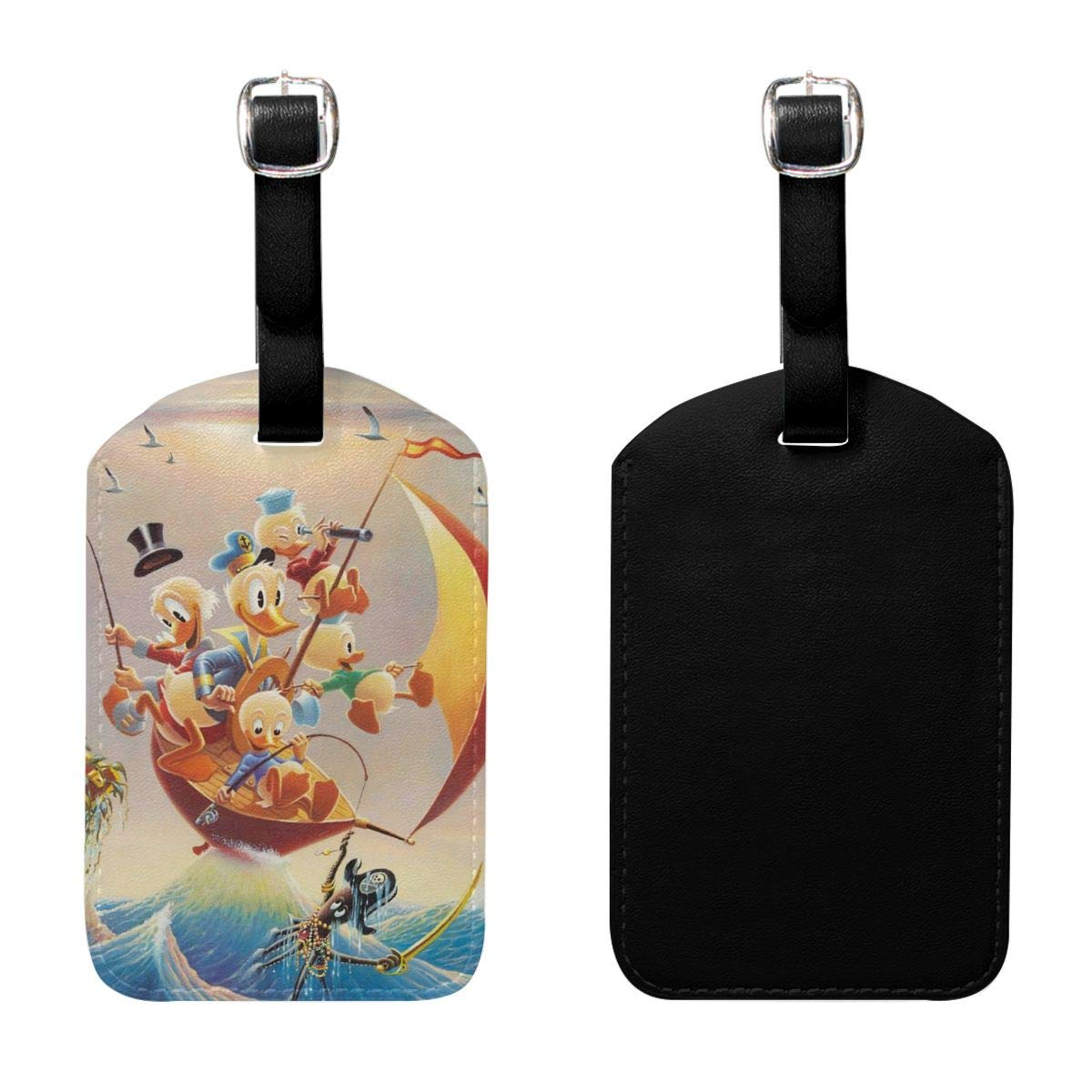 Set of 2 PU Leather Luggage Tags Donald Duck Fishing Suitcase Labels Bag Adjustable Leather Strap Travel Accessories