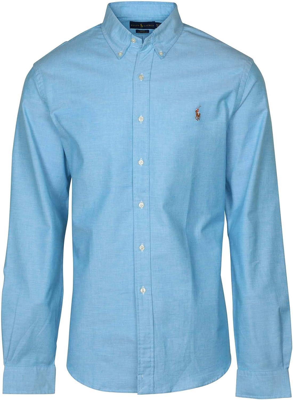 Polo Ralph Lauren Men's Long Sleeve Slim Fit Stretch Oxford Button-down Shirt (XXL, Optic Blue)