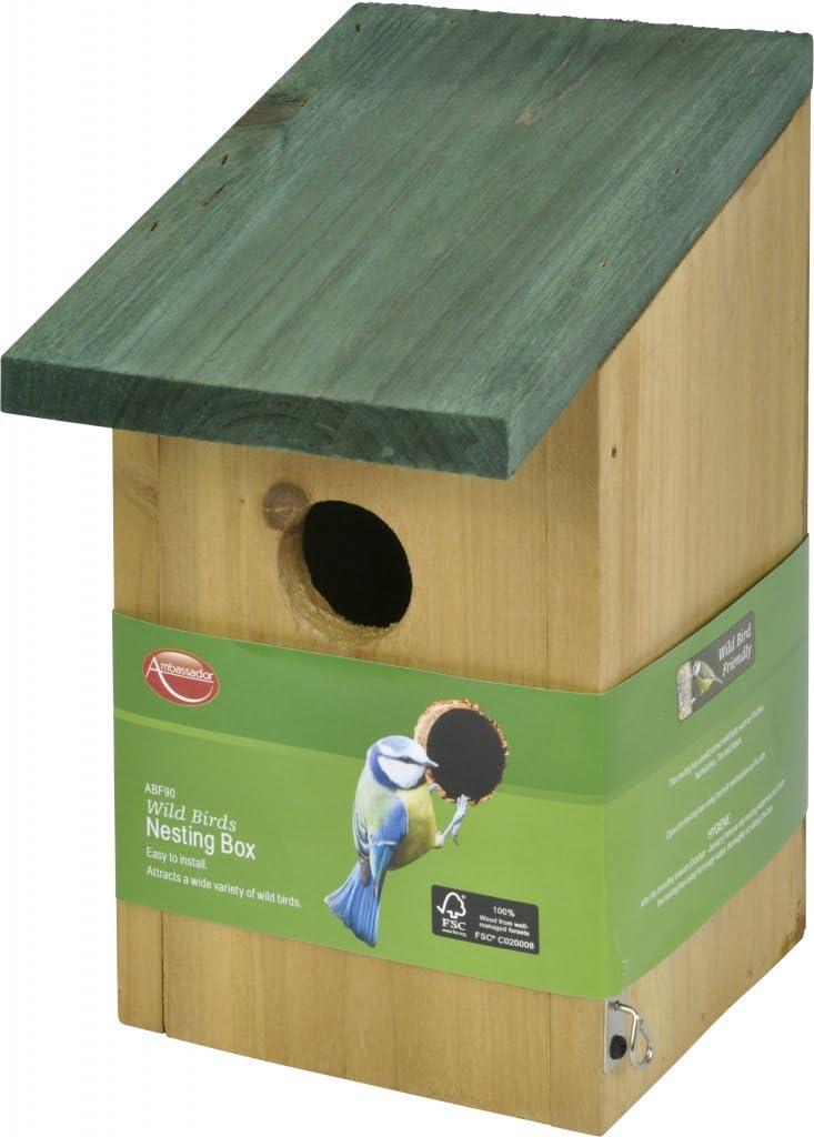 Ambassador Wild Birds Wooden Nesting Box - ABF90: Amazon.es: Jardín