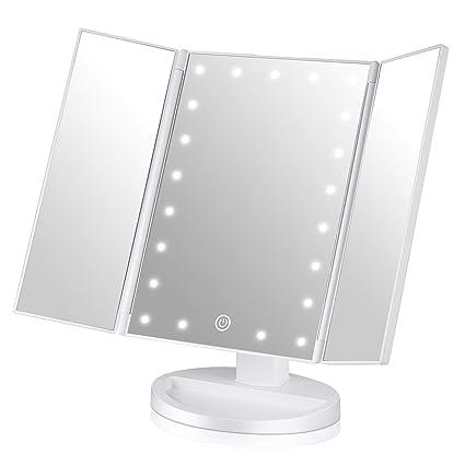 easehold tri fold illuminated vanity mirror led lights touch screen rh amazon co uk