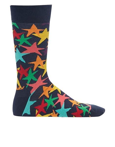 Happy Socks Coloridas Estrellas Los Calcetines De Los Hombres, Marina De Guerra Un Tamaño: Amazon.es: Ropa y accesorios