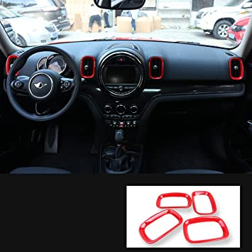 F60 Countryman Centre Display Cover, Red LVBAO Tachometer Centre Display Steering Wheel Air Vent Frame Cover Cap Case for Mini Cooper ONE S JCW F Series Clubman Countryman Hardtop Hatchback