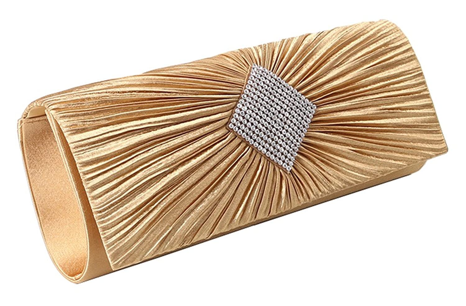 Pleated Flap Satin Evening Clutch Diamond Sahped Beaded Bridal Handbag Wallet