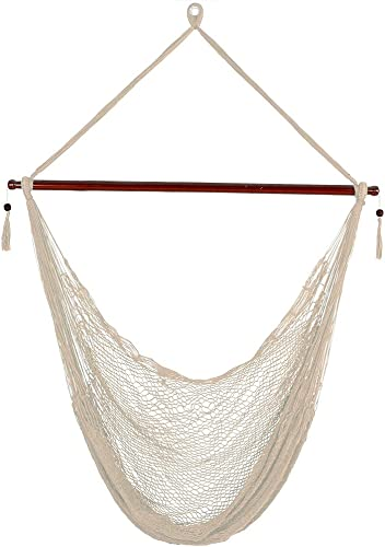Sunnydaze Hanging Rope Hammock Chair Swing – Cabo Style Extra Large Hanging Chair with Spreader Bar for Backyard Patio – 360-Pound Capacity – Cream
