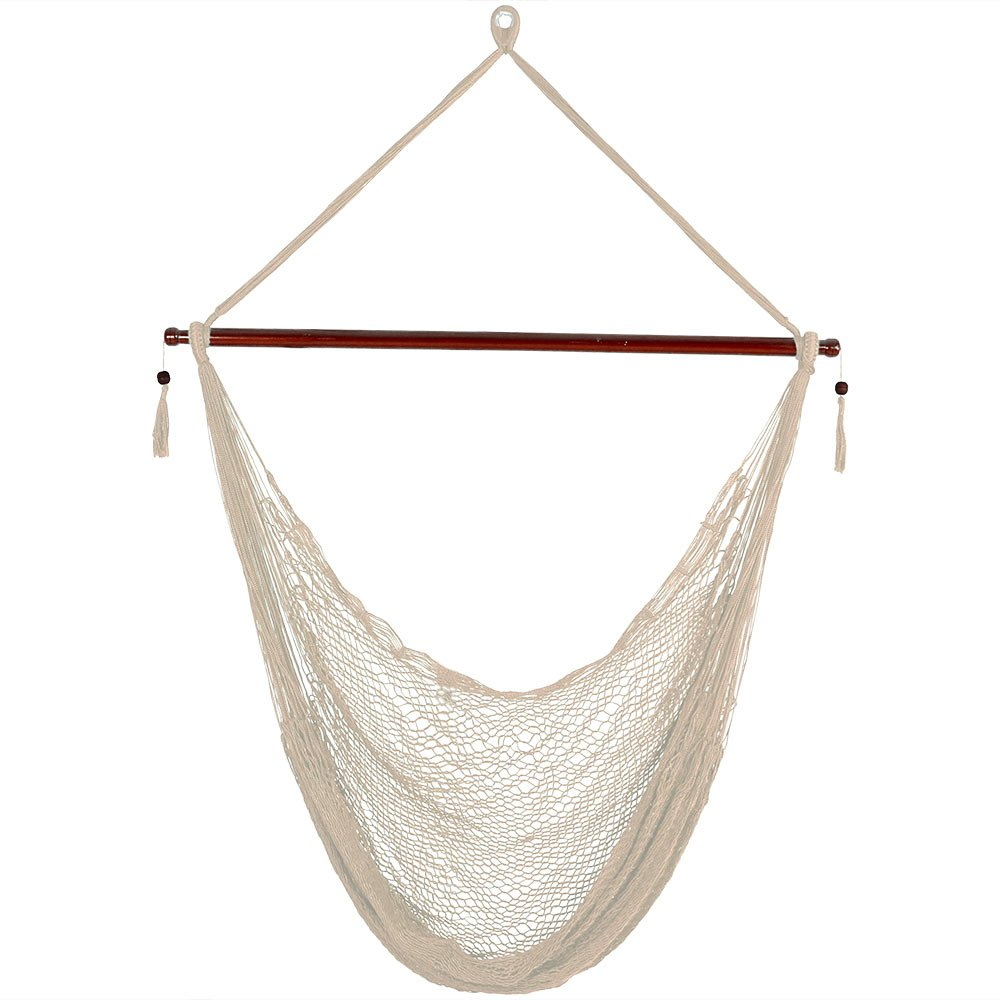 Sunnydaze Cabo Extra Large Hanging Rope Hammock Chair Swing with Spreader Bar, 360-Pound Weight Capacity, Cream