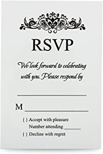 Doris Home 100 pcs/lot Ivory Rsvp cards with white envelopes for wedding invitations (100, Ivory)