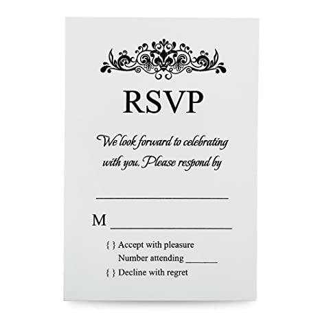Doris Home 100 Pcs Lot Ivory Rsvp Cards With White Envelopes For Wedding Invitations 100 Ivory
