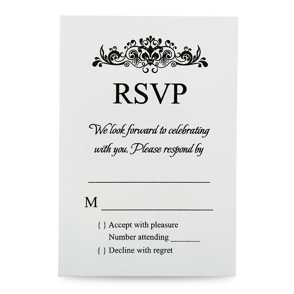 Doris Home Ivory Rsvp cards with white envelopes for wedding invitations, 100 pcs/lot (100, Ivory)