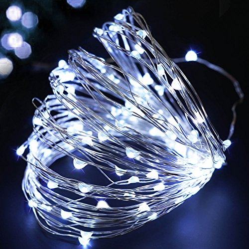 BRIGHT ZEAL 33' Long Cool White LED STRING LIGHTS (White Wire, TIMER, BATTERY Operated, 100 LEDs) - LED Starry STRING LIGHTS Fairy Lights - LED Battery String Lights - HOME Decor 5013