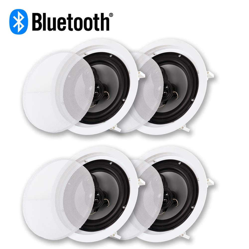 Acoustic Audio CS-IC83 Bluetooth in Ceiling 8'' Powered 4 Speakers Pack Flush Mount