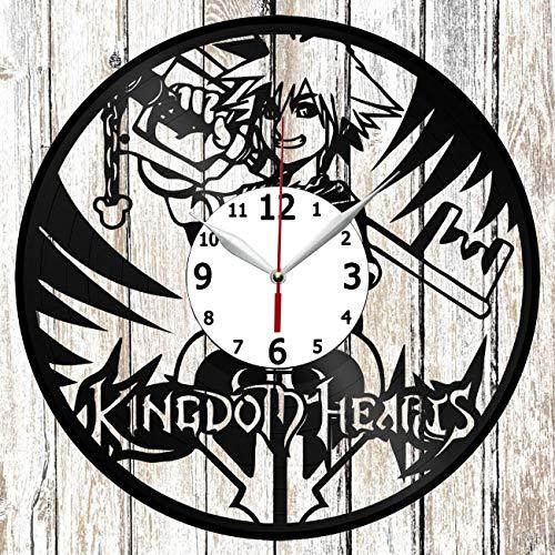 Kingdom Hearts Anime Vinel Record Wall Clock Home Art Decor Handmade Original Gift Unique Design Vinyl Clock Black Exclusive Clock Fan Art