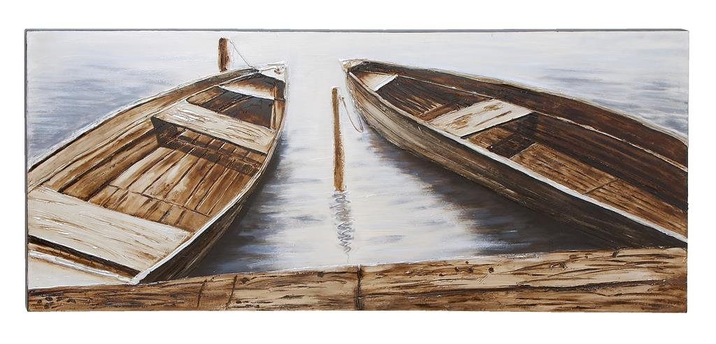 ''Two Boats'' Handpainted On Canvas