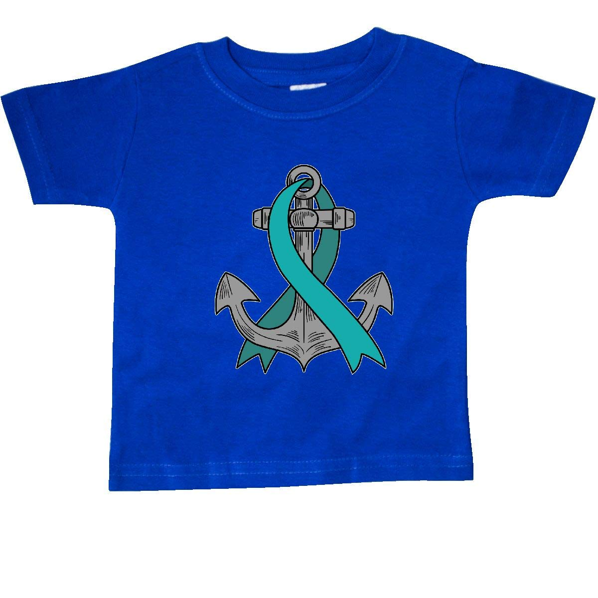 inktastic Anchor with Teal Ribbon for Ovarian Cancer Awareness Baby T-Shirt