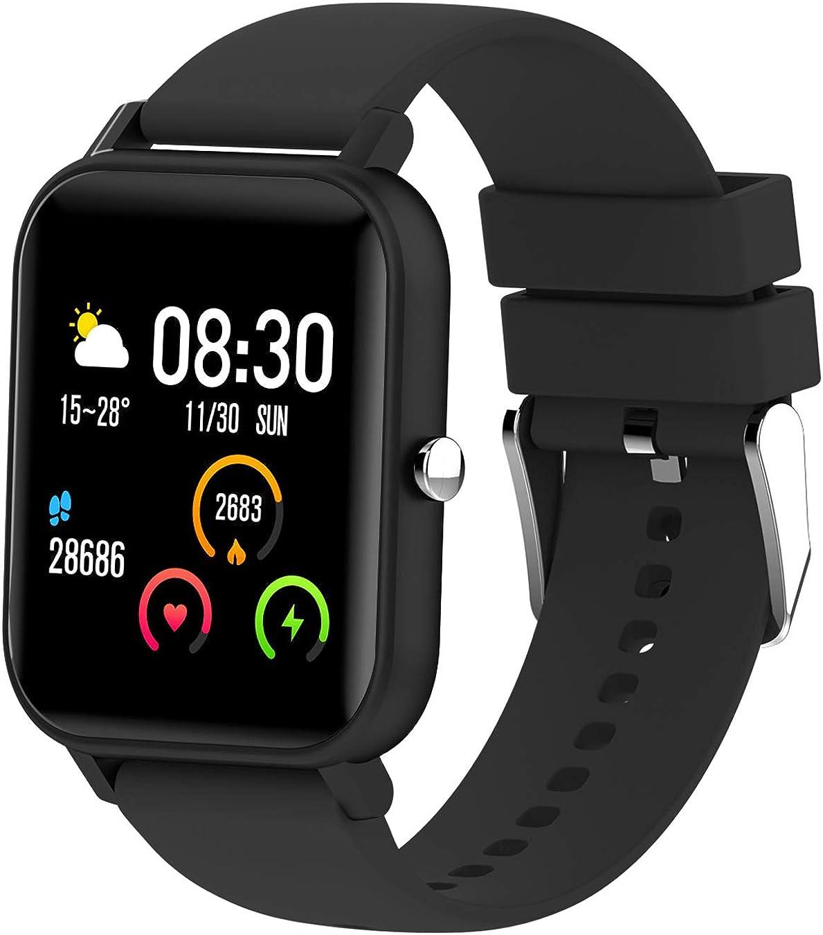 Reloj de pulsera con pulsómetro inteligente para hombre y mujer, música, clima, fitness, presión arterial, sueño, pasos, calorías, resistente al agua, deporte