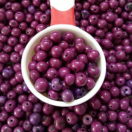 Acai Beads - acai nut round beads 8-10mm Purple, acai palm tree seed beads 8-10mm round. (100)