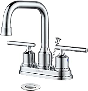 WOWOW Bathroom Faucet Chrome 2 Handle 4 inch Bathroom Sink ...