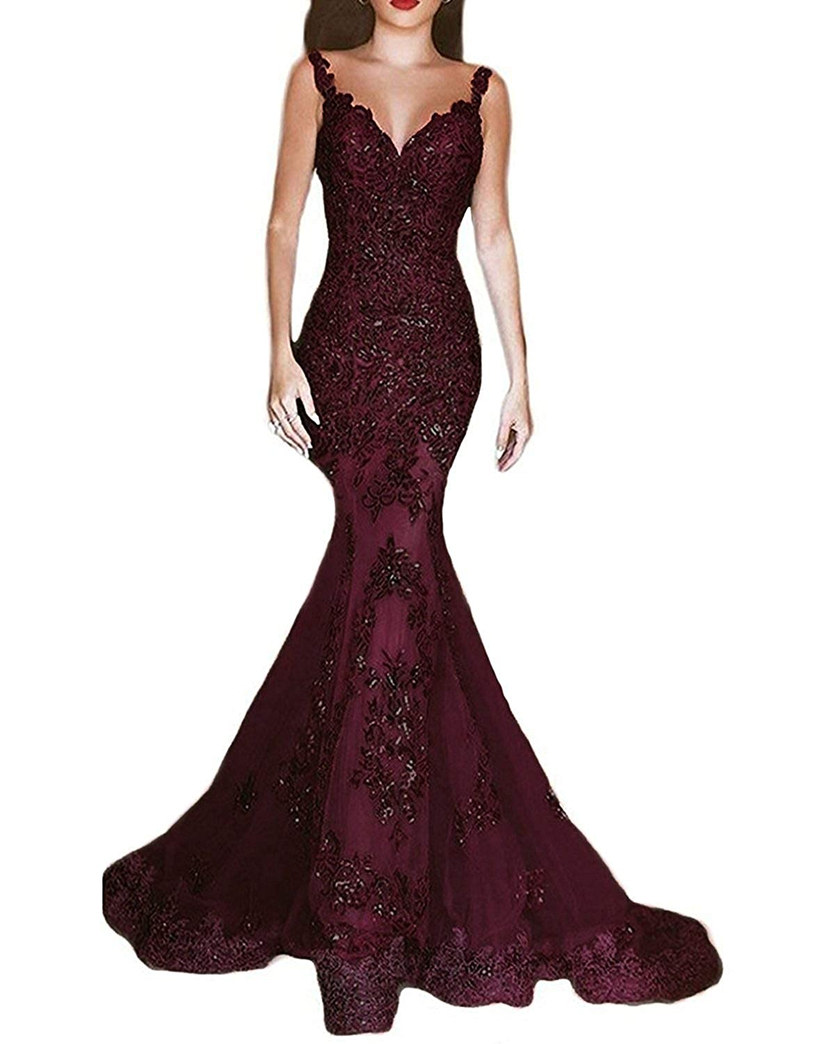 Dark Red ASBridal Lace Evening Dress Mermaid Prom Dresses Long Sequin Formal Party Evening Gowns Sheer Back