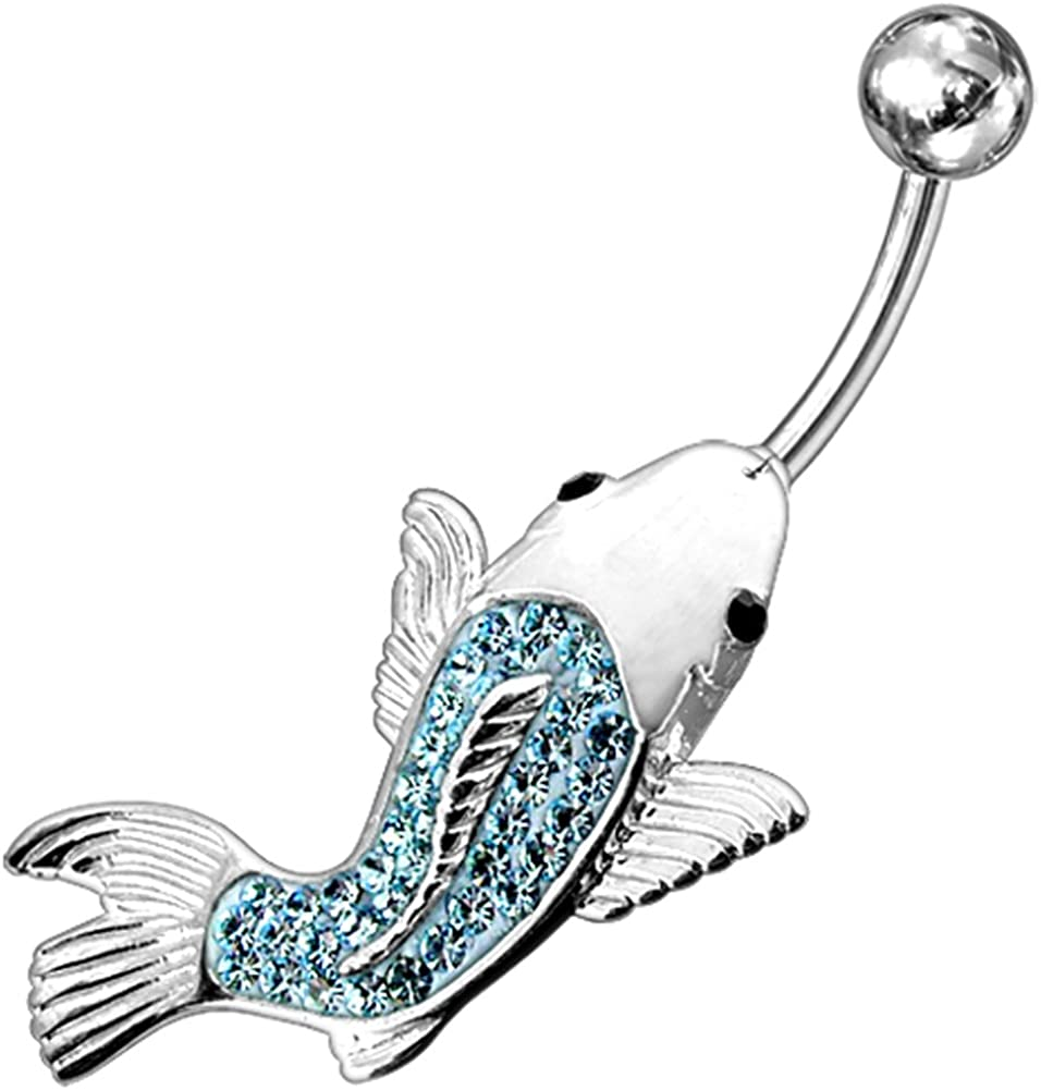 Multi Crystal Stone Koi Fish Design 925 Sterling Silver Belly Button Piercing Ring Jewelry