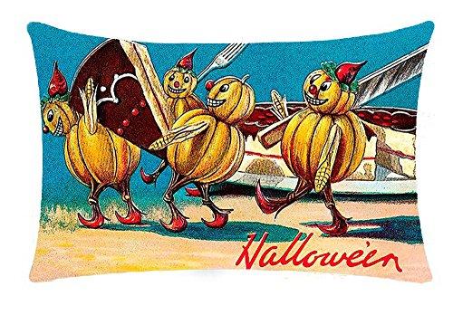 Happy Halloween retro cartoon pumpkin girl moonlight under cat bats Cotton Linen Throw pillow cover Cushion Case Holiday Decorative 12