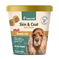 NaturVet – Skin & Coat Plus Breath Aid for Dogs – 70 Soft Chews – Supports Healthy...