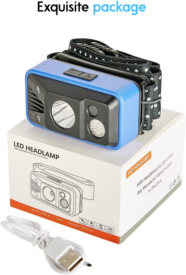 Headlamp USB Rechargeable Outdoors for Camping 6 Modes Water Resistant Headlight with Adjustable Headband Hiking White LED Head Flashlight with Sensor Switch