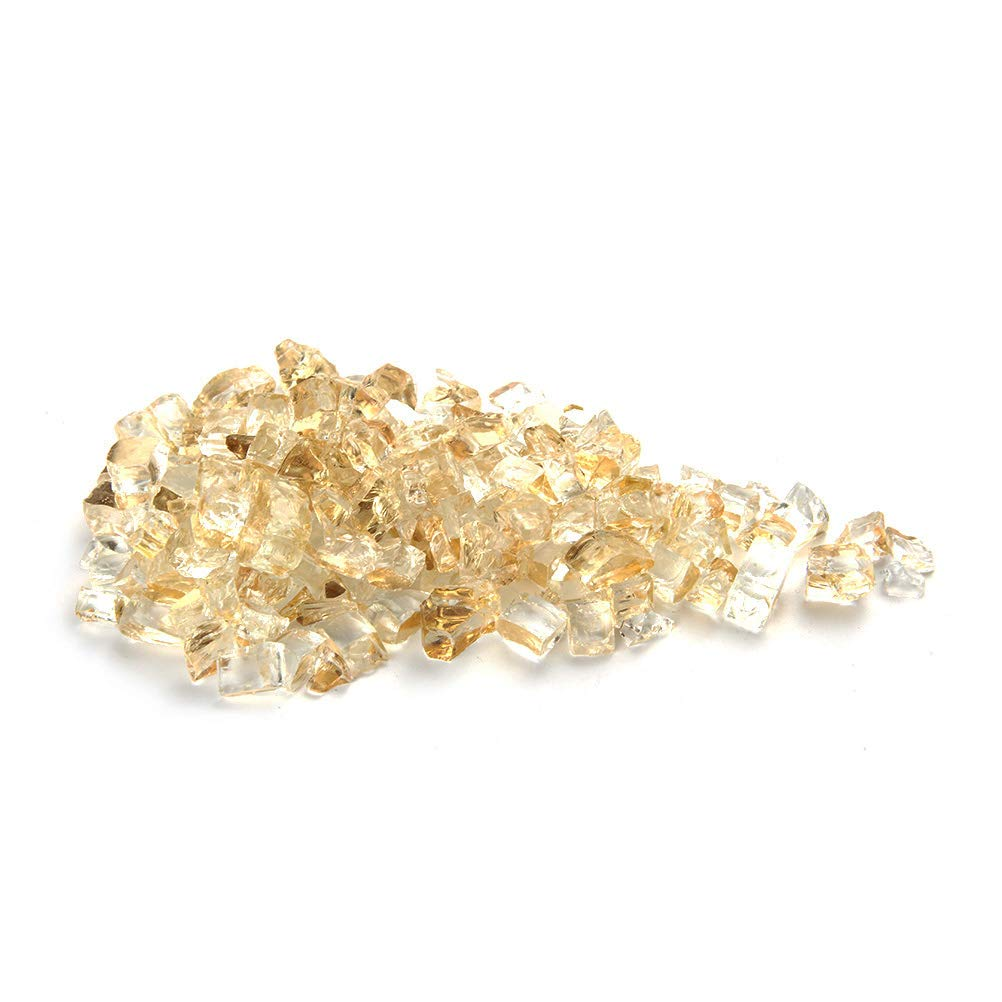 MITOO Fire Glass for Fire Pit - Crushed Fire Glass for Indoor and Outdoor Gas & Propane Fireplace Glass Beads Decor - Diamonds Semi-Reflective | 10 Pounds | 1/2 Inch, Margarita Golden Luster