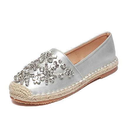 0b591ca2c5 Amazon.com: Women Rhinestone Espadrilles Shoes Flats Hemp Rope Slip ...