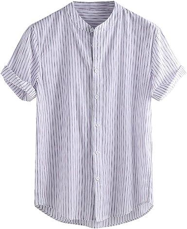 Camisas de Lino para Hombre, diseño clásico de Rayas, Manga ...